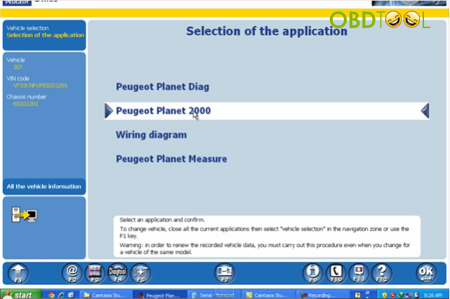 Select the application as Peugeot Plant 2000 and confirm it