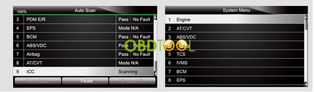 NT644 automatically scans all diagnosable electronic control units on a vehicle