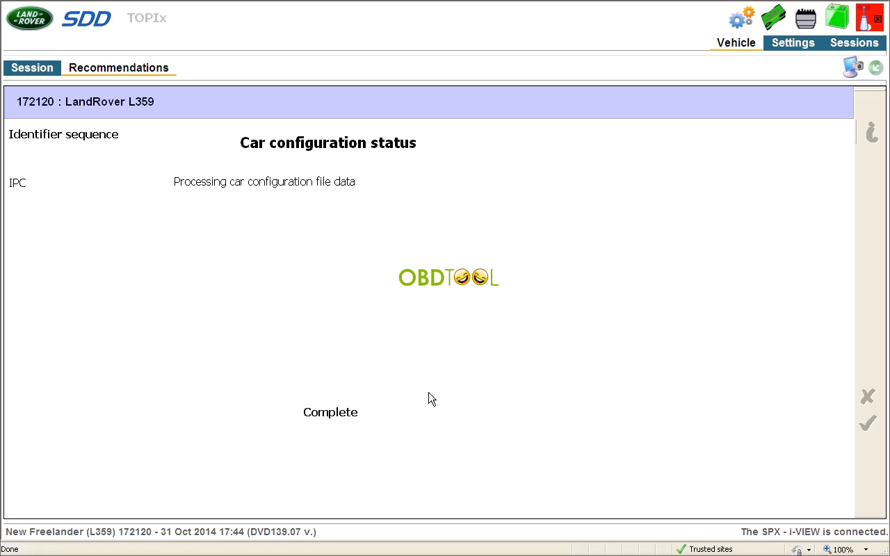 Processing car configuration file data is completed
