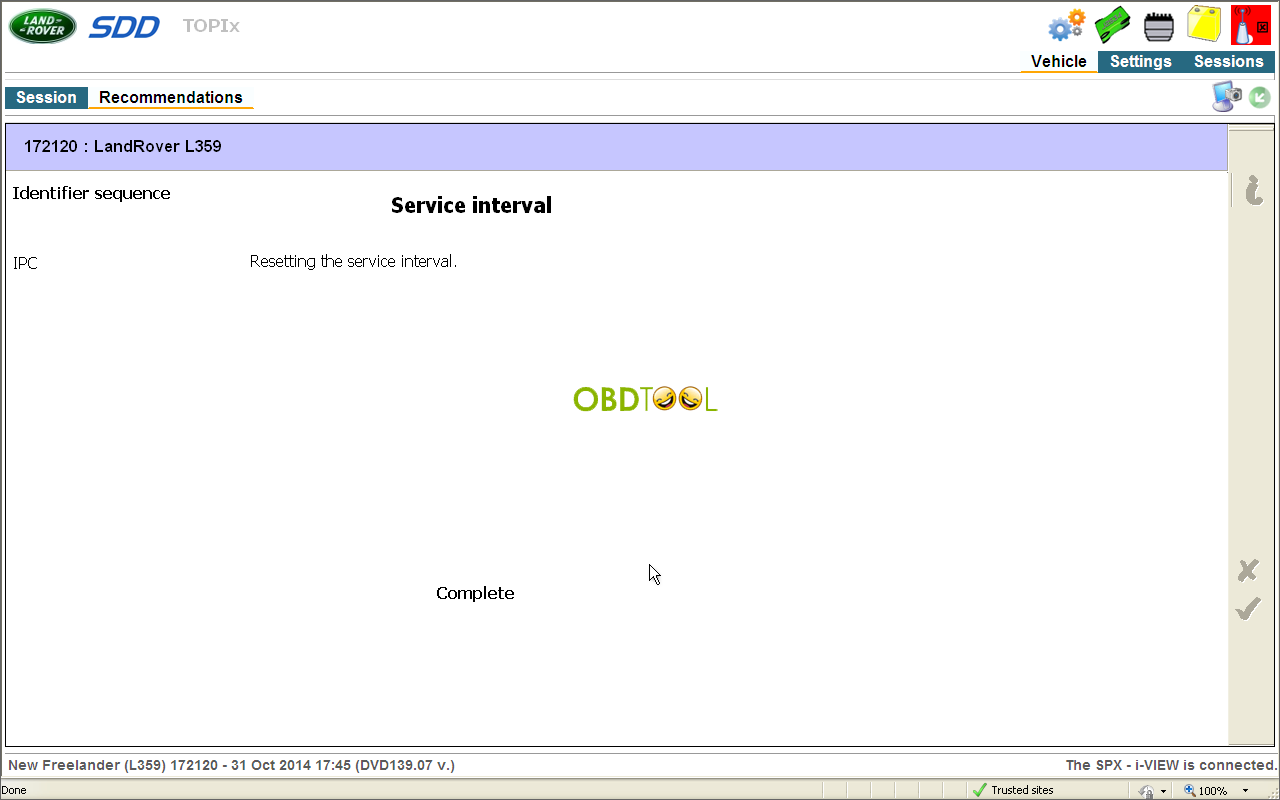 Resetting the service interval is completed