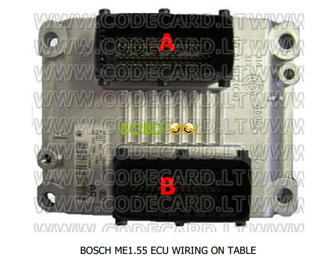 BOSCH ME1.55 ECU connection on-table diagram