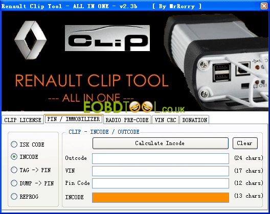 Download software to read Renault pin code, add new key, program ECU