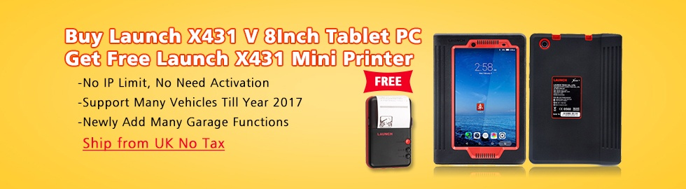Launch X431 V 8inch Tablet Wifi/Bluetooth Diagnostic Tool 2 Years Free Update Online with Free WiFi Printer