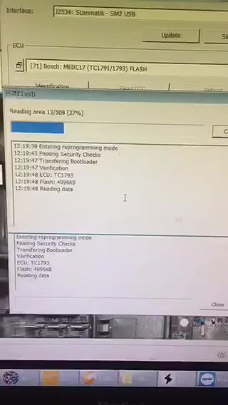 pcmflash 1 99 running with KTM Bench interface - cardiag-tool over