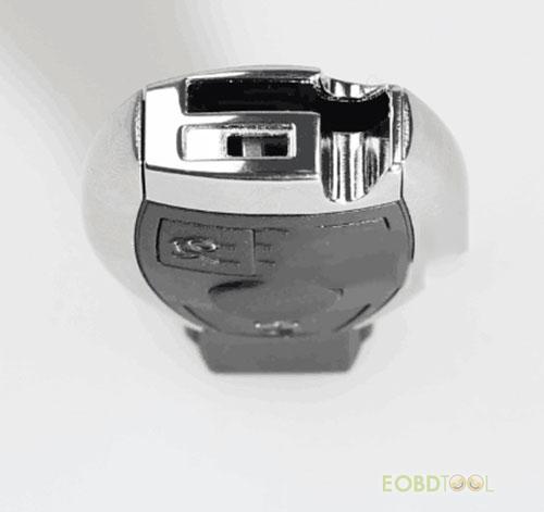 a rear metal button