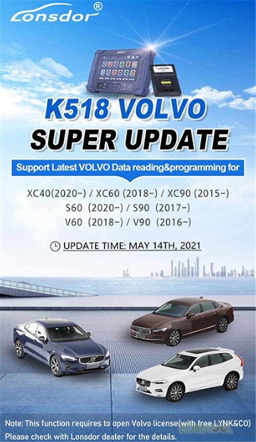 K518 volvo update